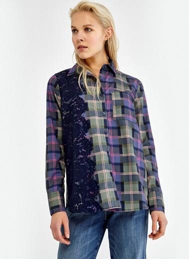 Dantel Detaylı Kareli Gömlek-Ipekyol